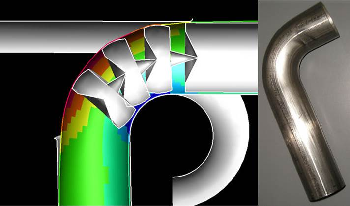 Accurate bending simulation with precise influence of mandrel balls Courtesy of Mewag Maschinenfabrig A