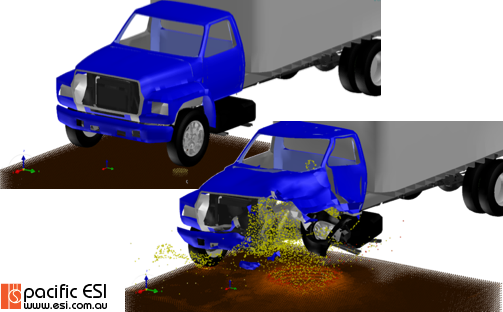 Illustration of before and after images for the unprotected vehicle experiencing an under-tyre IED.