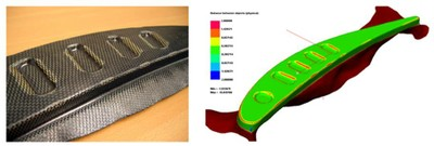 Thermoforming simulation of a thermoplastic aeronautic rib